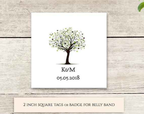 Belly band badge or favour tag, printable template. Decorate your wedding invitation set bands. Edit, print, trim.'Tree of Love'.