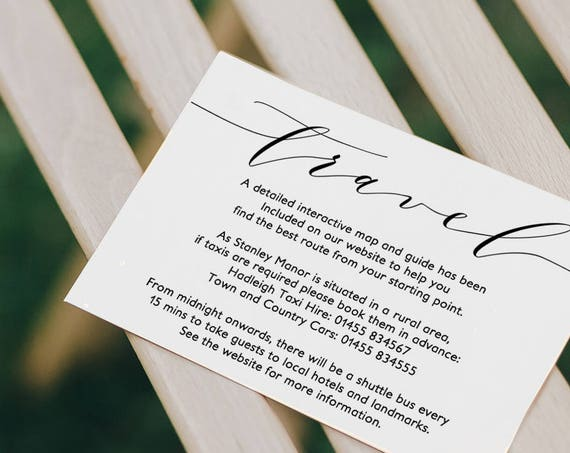 "Travel Card, Printable Travel Directions Card, Wedding travel Card | ""Wedding"" 