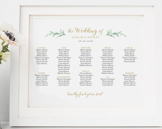 Wedding table seating chart Greenery wedding table plan PDF templates | 9 sizes included | Portrait + Landscape | Editable PDF