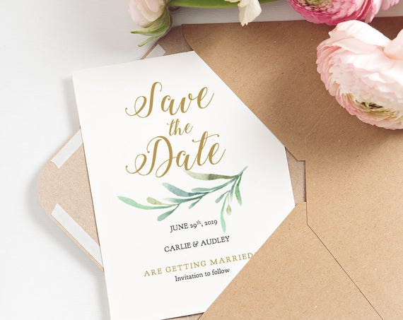 Save the Date Printable Card, Greenery Wedding, Save the Date Template, Printable Wedding Cards | Edit in WORD or PAGES