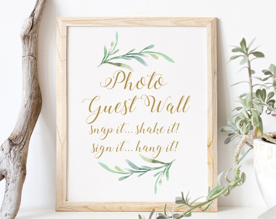 "Photo Guest Wall Sign, Snap it Shake it Sign it Hang it, Greenery Printable Photo Guest Wall Sign 8x10"" Download and Print"