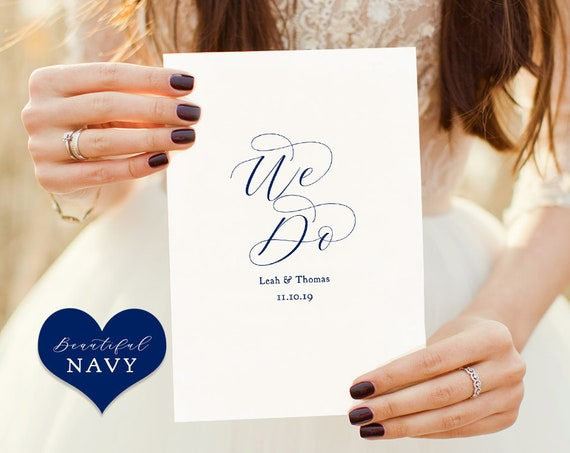 "Navy Wedding Program Template, folded order of service, Printable wedding program, front, back, inside, ""Beautiful"" Edit in WORD or PAGES"