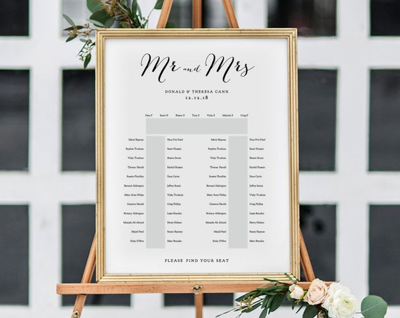 "Horseshoe Seating Plan Template, 2 Long Tables and one top table 'Sweet Bomb' Table Plan Printable Template, 18x24"" and A2, Editable PDF"