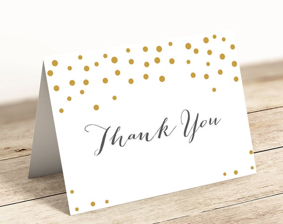 "Gold Dot Printable Thank You card, Folded Thank You Notecard, 5x3.5"", 4 Bar size, Orlando. PDF Download and Print"
