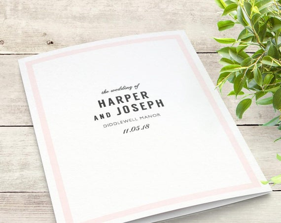 Modern Wedding Program with Border in any colour, edit print and fold DIY wedding program | Harper | Any colours. Edit in WORD or PAGES
