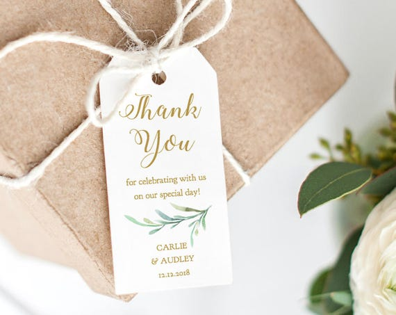 "Thank You Tag 2x4"" Wedding Favor, Wedding Thank You Tags, Gift Tags, Thank You Printable, Wedding Printable, Greenery. Edit in WORD or PAGES"