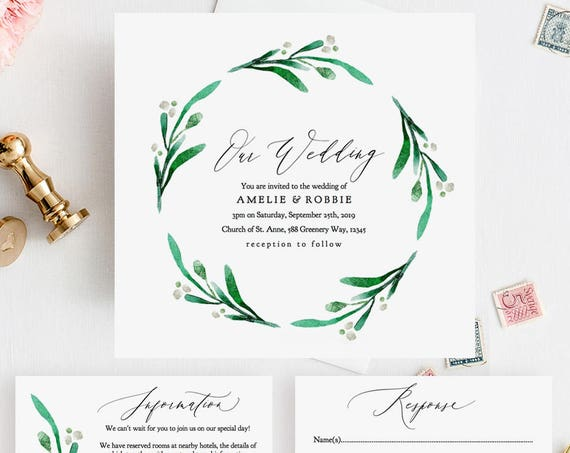 "Square Wedding Invitation Set Printable Templates, Greenery Wedding Square Invitations 5.25"" & 6.25"" ""Wedding Greenery"" Editable PDF"