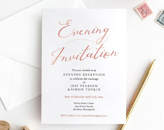 "LucyRose - Evening Invitation, Rose Gold Evening Reception Printable Template, Wedding Reception, 5x7"" Rose Gold EFFECT, Corjl"
