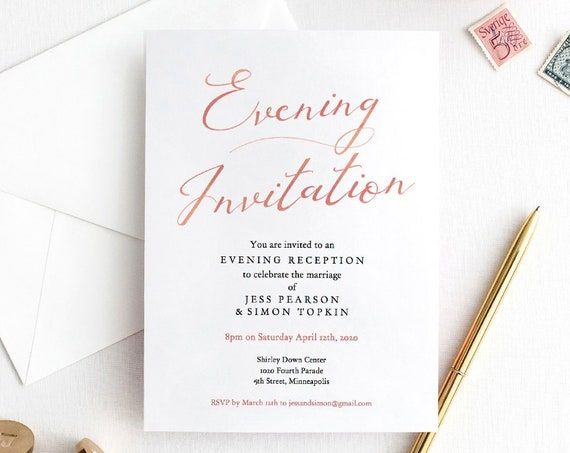 "Evening Invitation, Rose Gold Evening Reception Printable Template, Wedding Reception, 5x7"" Rose Gold EFFECT, 'LucyRose', Editable PDF"