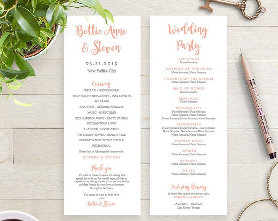 Coral Printable Long Wedding Program Template DIY, coral wedding program, Bettie, any colour, Editable PDF