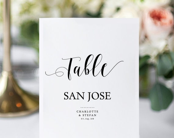 Large Table Name or Number Cards, Printable Table Names 2 per page, instantly download, customise + print, 'Mr. & Mrs.' Editable PDF