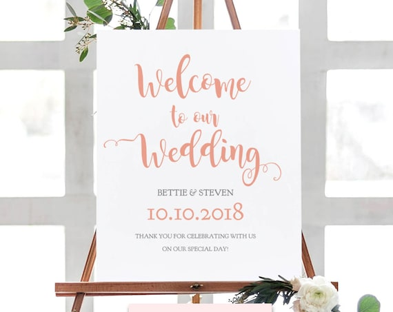 "Welcome to our wedding sign, wedding welcome sign, coral wedding, printable template, Bettie | 18x24"", 24x36"", A2 & A3 