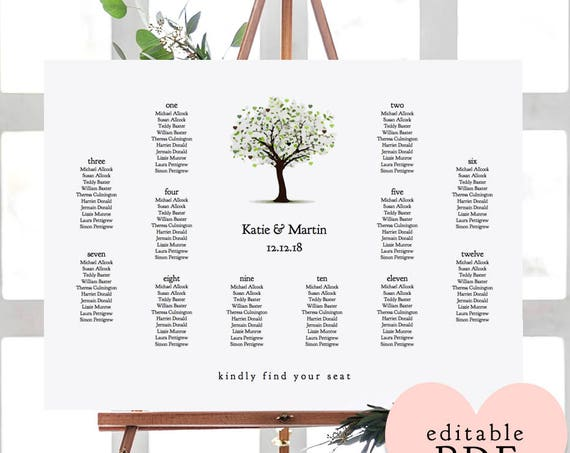 "Tree of Love Wedding Seating Chart Table Plan Printable Template A2 or 18x24"" sizes 'tree of love' Editable PDF"