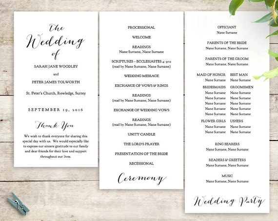 Printable Tier Wedding Program. Sweet Bomb. Edit, print, trim and tie together | DIY Editable printable template | Word files A4 and 8.5x11