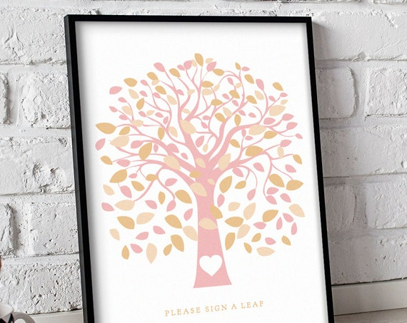 Signature tree poster printable, instantly download and print! 18x24 Handwrite your names/initials in the heart, your guests can sign a leaf