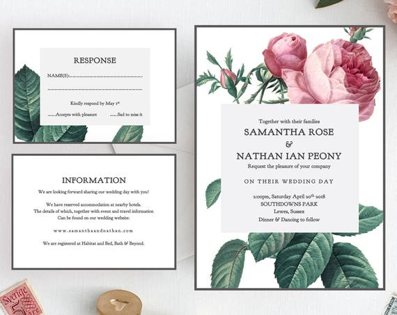 Vintage rose wedding invitation set, printable invitation suite, Invitation, RSVP, Information, Vintage Rose | Editable printable template