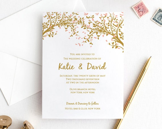 Tree Wedding Invitation Template Set, Instant Download, Leaves, Invitation, RSVP, Info | Edit in WORD or PAGES