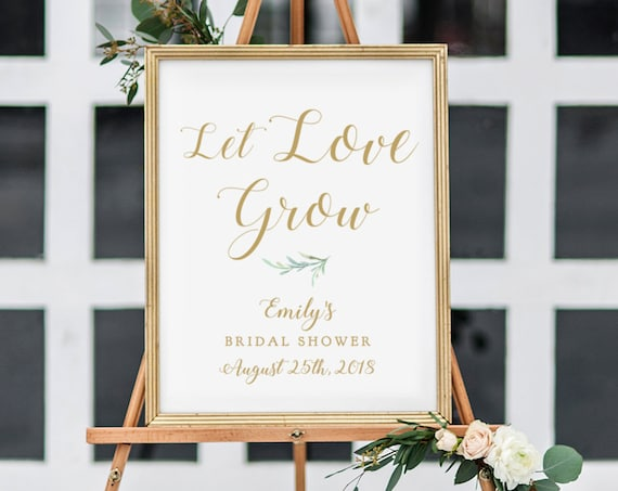 "Let Love Grow Bridal Shower Sign Greenery Printable Let Love Grow Sign 18x24"" and A2 sizes. Editable PDF"