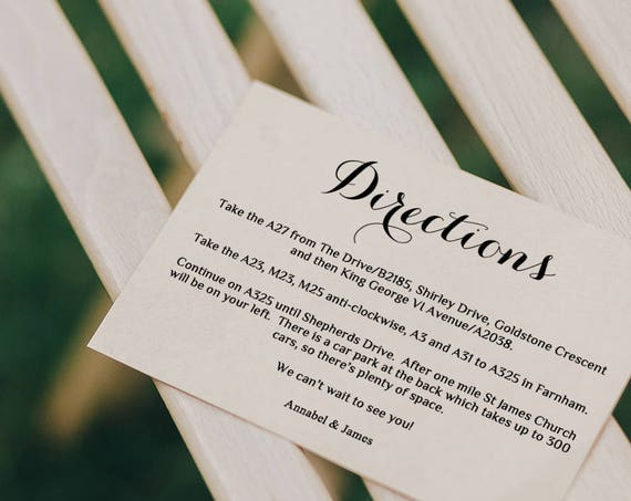 Directions Card Printable Template Wedding Guest Enclosure Card any colour Byron Edit in WORD or PAGES