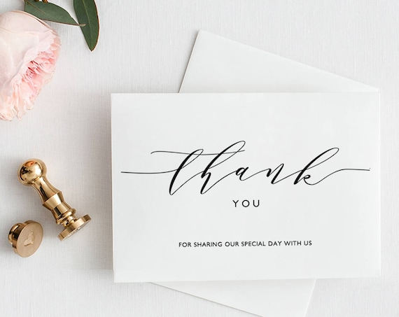 "Thank You Card Printable Template, Folded thank you card, type your message underneath 'thank you' | ""Wedding"" 