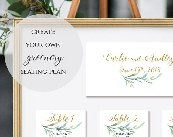 Table Seating Cards, Greenery Wedding Seating Cards to make Any Size Table Plan, Greenery, Seating Card Templates |  Edit in WORD or PAGES