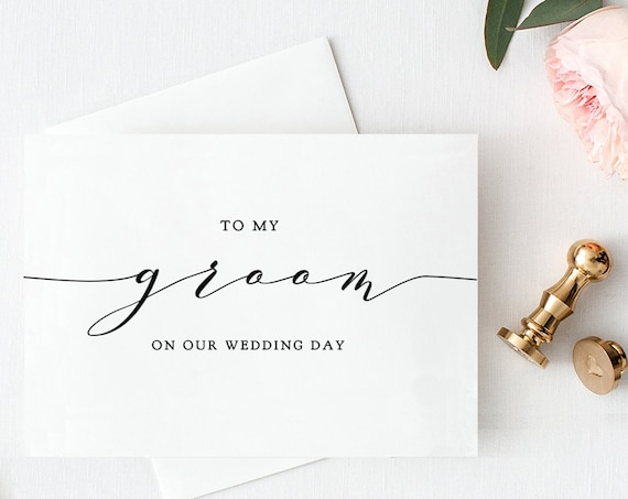 To My Groom on Our Wedding Day plus To My Bride Card Printable Wedding Notecard Printable Wedding Card Download & Print