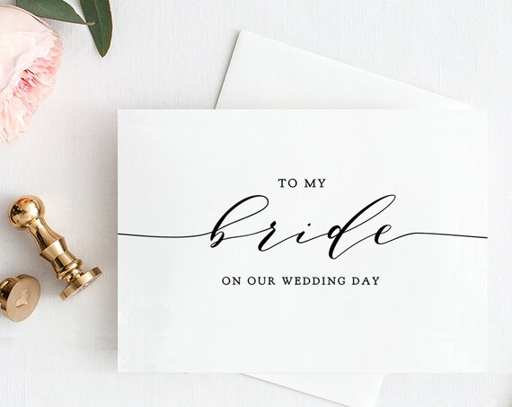 To My Bride on Our Wedding Day plus To My Groom Card Printable Wedding Notecard Printable Wedding Card Download & Print