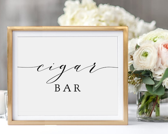 "Cigar Bar Sign, Printable Cigar Bar Sign, Instantly download and Print. 8x10"", Wedding cigar bar sign ""Wedding"", Download and Print"