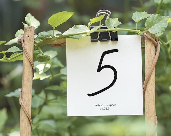 "Modern - Small Table Numbers 3 Sizes, Printable Table Numbers, 2x3"", 3x3"" & 3x4"", Modern Minimalist Wedding, Corjl Templates, FREE Demo"