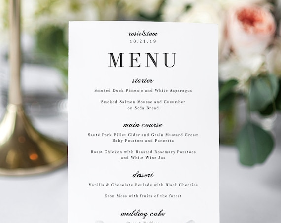 Elegant Menu Card, Wedding Menu Printable Template, elegant and classic wedding 'Rosie'. Edit in Word or Pages