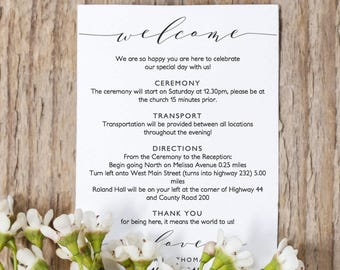 welcome itinerary 5x7 wedding guest note welcome letter template wedding printable wedding welcome wedding ideas edit in word or pages