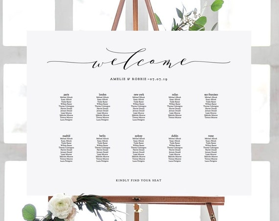 "Wedding Seating Chart Printable Wedding Seating Chart Template DIY ""Wedding"" A2, A1, 18x24"" & 24x36"" sizes included, Editable PDF"
