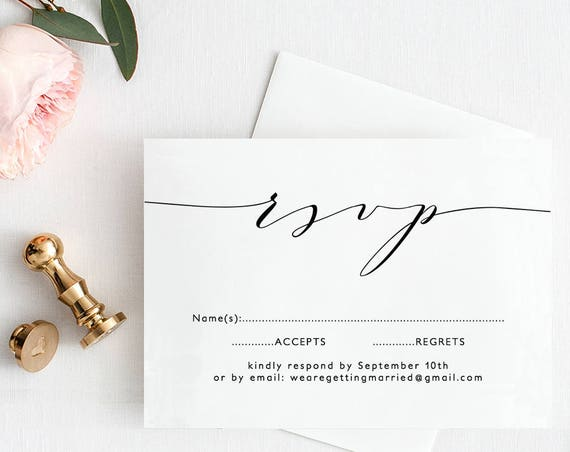 "Wedding RSVP Template Printable Wedding rsvp ""Wedding"" 