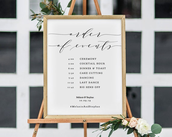 "Order of Events Timeline Wedding Sign, Printable Timeline Sign 18x24"" & A2 included,  ""Wedding"" Editable PDF"