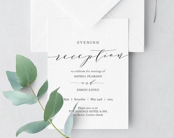 Reception Invitation, Evening Reception Invitations, DIY Printable Reception invitations, Corjl Template, FREE Demo