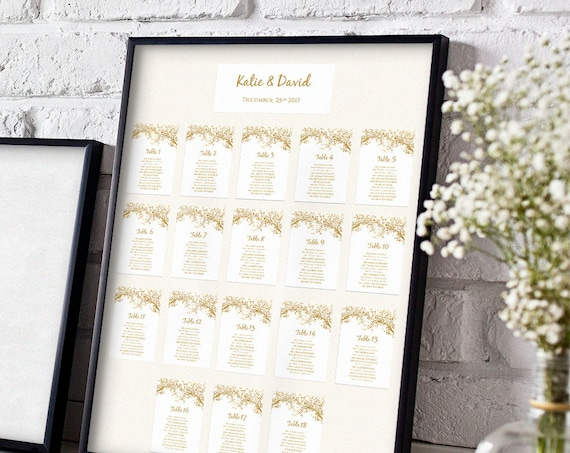 Wedding Seating Card templates, DIY Seating Chart, Any Colour Leaves | Instant Download | Editable in WORD or PAGES