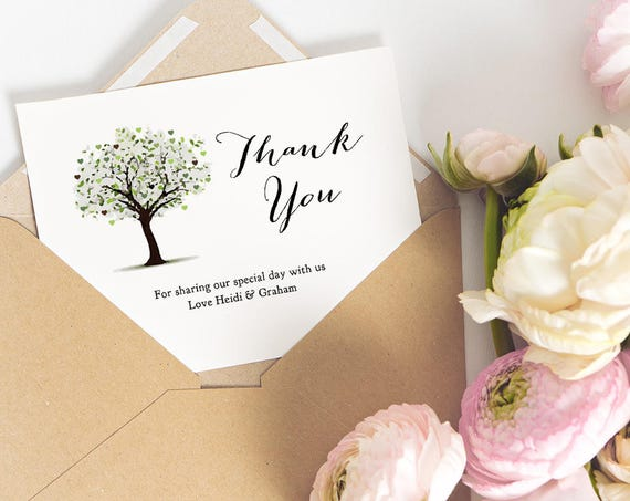 "Printable Thank You Card Tree Thank You Card, Folded or Flat thank you card, type your message ""Tree of Love"" Edit in WORD or PAGES"