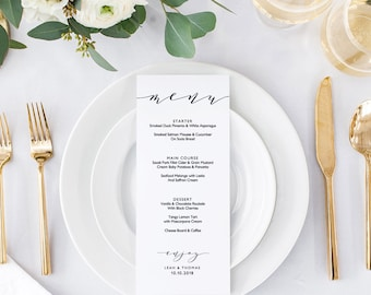 wedding menu template 5x7 4x9 and full page etsy