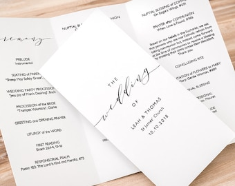 tri fold wedding program template