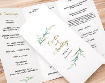 z fold trifold printable wedding program greenery wedding etsy