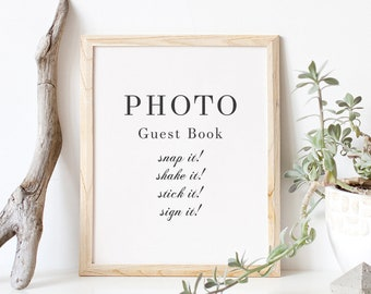 Modern Wedding Sign Fairfax: 8x10 Guest Book Sign Snap it Stick it Sign it PDF Template Serif Sign PDF Instant Download Bold