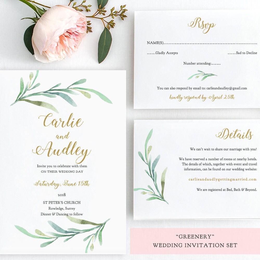 greenery wedding invitation set templates printable wedding