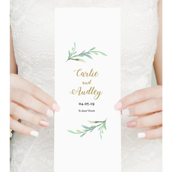 Greenery Bi-fold wedding program template, long thin folded order of service, printable wedding program, Edit in WORD or PAGES