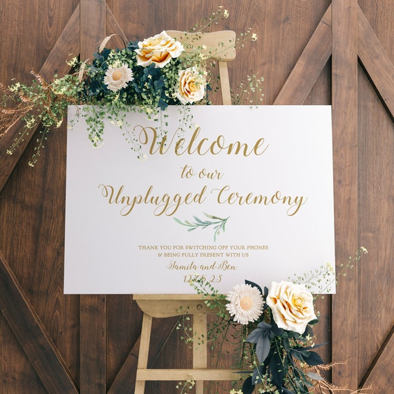 """Welcome Unplugged Ceremony Sign, Unplugged Wedding Sign, 18x24"""" and A2, Greenery, Printable Wedding Signage, Corjl Templates, FREE Demo"""