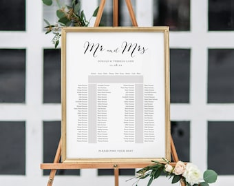 Horseshoe Seating Plan Template, 2 Long Tables and one top table 'Sweet Bomb' Table Plan Printable Template, 6 Sizes, Corjl FREE Demo