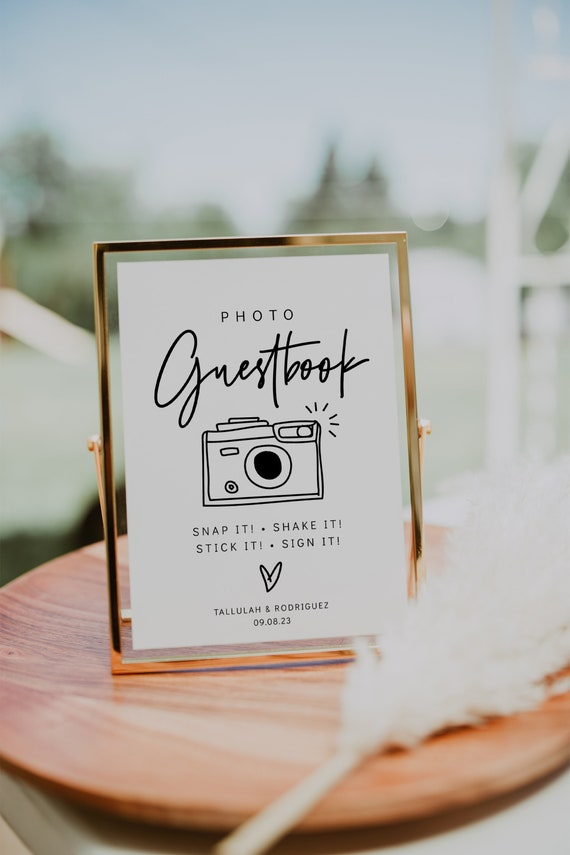 Photo Guestbook Sign in 3 Sizes, Printable Wedding Guest Book Sign, Modern Minimalist Wedding Sign, Modern, Corjl Template, FREE demo | 88