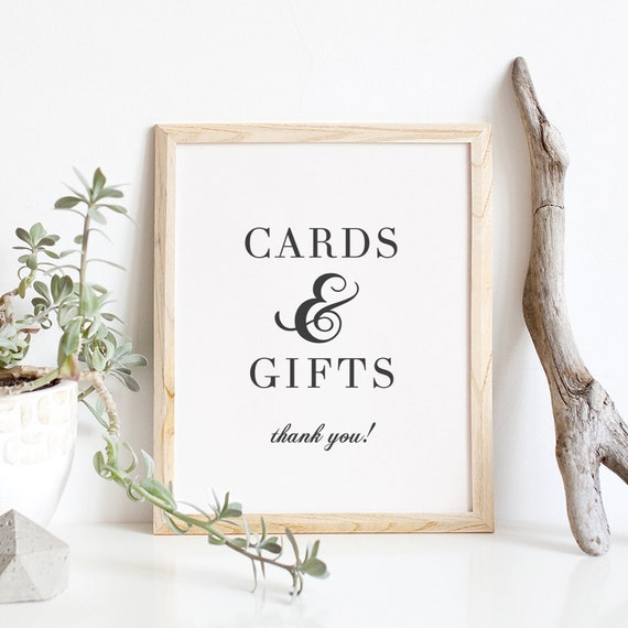"""Elegant Cards and Gifts Printable sign, Printable wedding cards and gifts sign 8x10"""" Sign 'Rosie' Download and Print"""