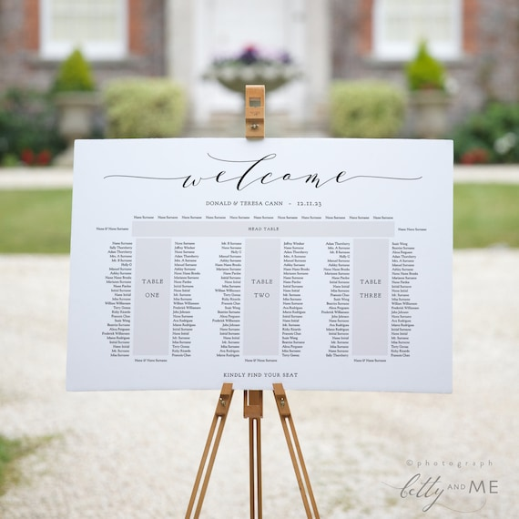 """Banquet Seating Chart 3 tables and top table, printable E shape table plan, """"Wedding"""" 18x24"""" 24x36"""", A1, A2 sizes, Corjl Template, FREE Demo"""