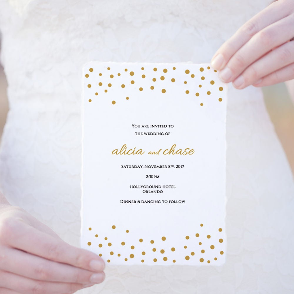 Wedding invitation template download, printable gold invitation card ...