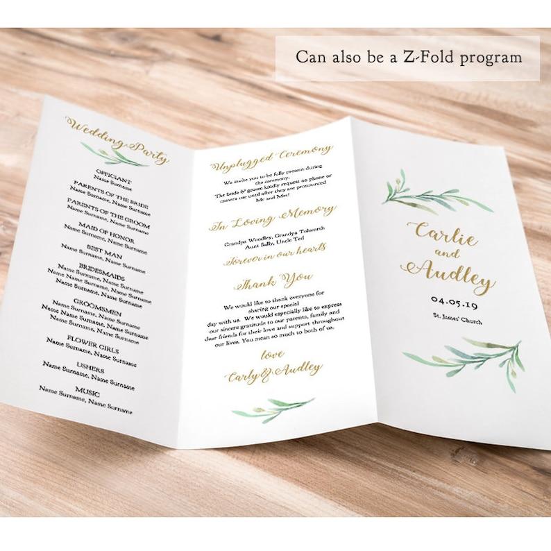 Z fold Trifold Printable Wedding Program Greenery Wedding image 0